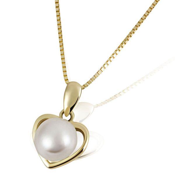 Collier Halskette Perlenherz 375 Gelbgold 1 Süßwasserzuchtperle