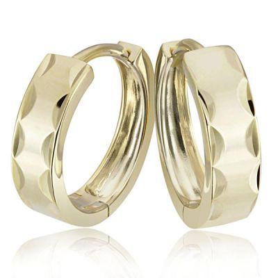 Paar Creolen 375 Gelbgold Ohrringe diamantiert hochglanzpoliert
