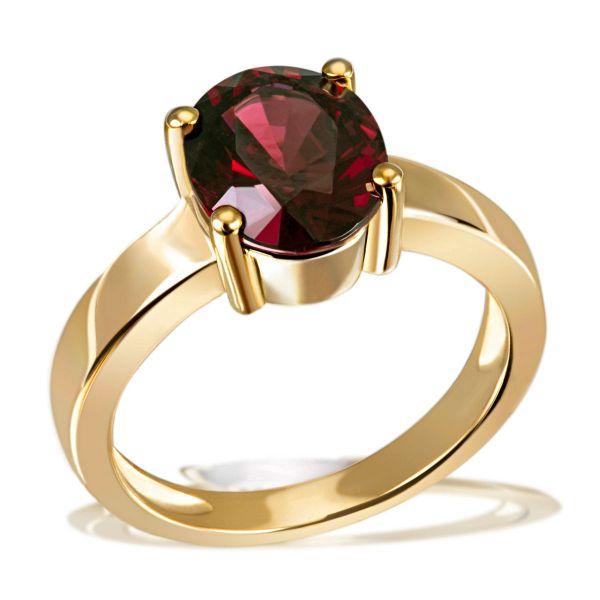 Damenring 375 Gelbgold 1 Granat Edelstein im Ovalschliff