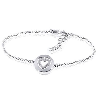 Armband Herz 925 Sterlingsilber 20 weiße Zirkonia