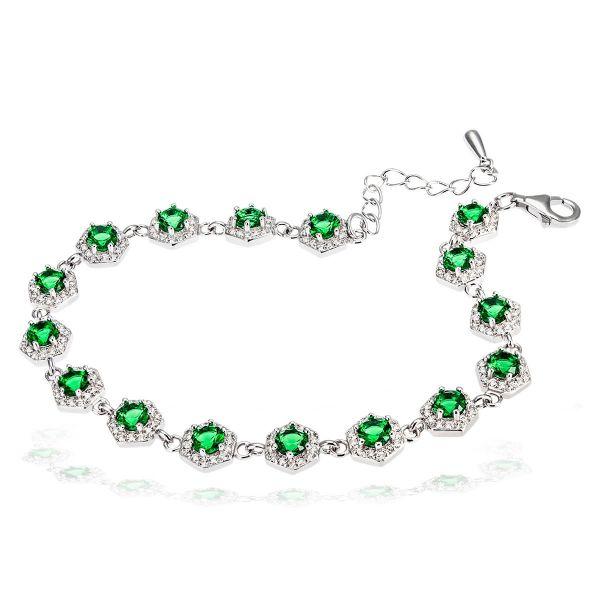 Damenarmband 925 Silber mit grünen Zirkonia