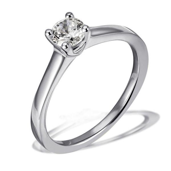 Damen Ring Solitär 585 Weißgold Brillant 0,30 ct. Lupenrein Größe wählbar 50-60