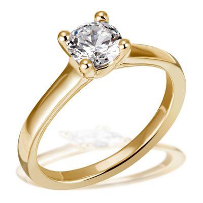 Jana Ring 750/- Gelbgold 1 Brillant 1,00 ct. Lupenrein oder SI inkl. IGI Gutachten