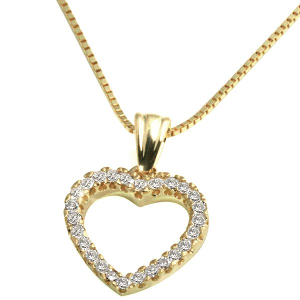 Collier Herz 375 Gelbgold Venezianerkette 26 Diamanten zus. 0,17 ct.