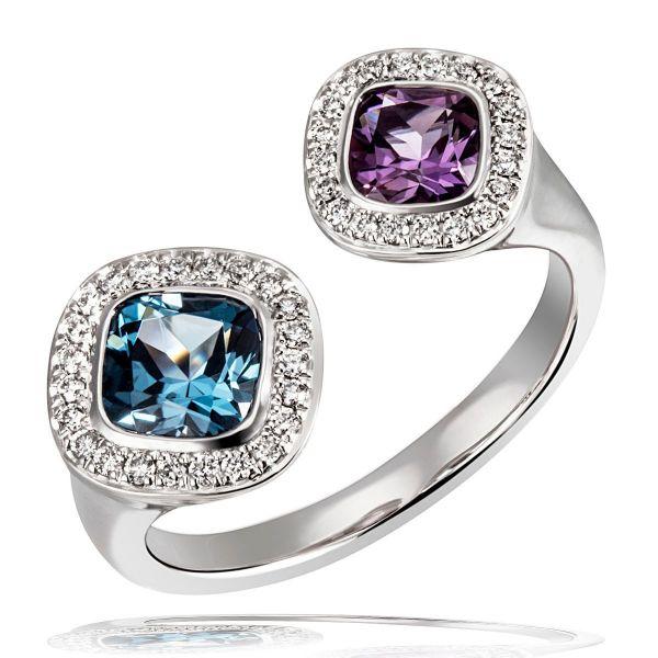 Damen Ring 585 Weißgold 43 Brillanten zus. 0,17 ct. Londontopas 1,00 ct. Amethyst 0,47 ct.