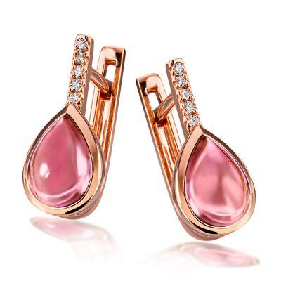 Paar Ohrhänger 585 Rotgold 2 pinke Turmaline, 10 Brillanten zus. 0,04 ct. SI/H