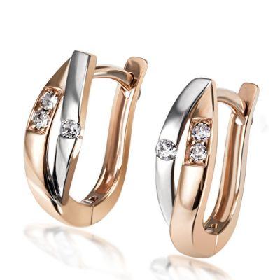 Paar Creolen 375 Gold Bicolor Ohrringe 6 Brillanten zus. 0,08 ct.