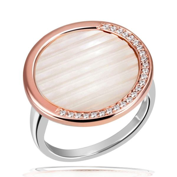 Damen Ring 925 Sterlingsilber teils rot vergoldet Perlmutt 25 weiße Zirkonia