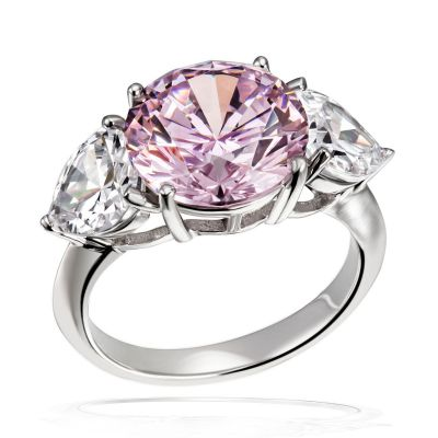 Damen Ring 925 Sterlingsilber poliert Zirkonia rosa/weiß Bling Bling
