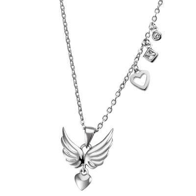 Flügelanhänger mit Kette 925 Silber 2 Zirkonia