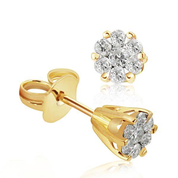 Paar Ohrstecker Glamour Bicolor 585 Gold 14 Brillanten zus. 0,34 ct.P2/H