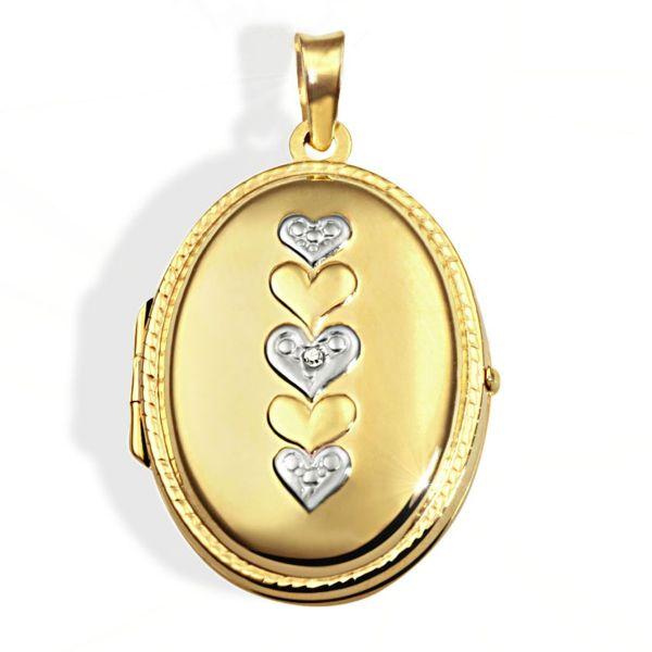 Anhänger Medaillon 333 Gelbgold mit Weißgold Herzen 1 Diamant 0,01 ct.