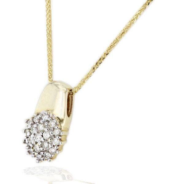 Collier 585 Gelbgold Halskette Zopfkette 19 Brillanten zus. 0,50 ct.