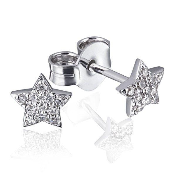Paar Ohrstecker Starshine 585 Weißgold 22 Diamanten zus. 0,12 ct. SI1/H