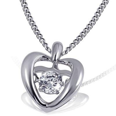 Collier Halskette Moving Stars Heart 925 Silber 1 Zirkonia vibrierender Mittelstein