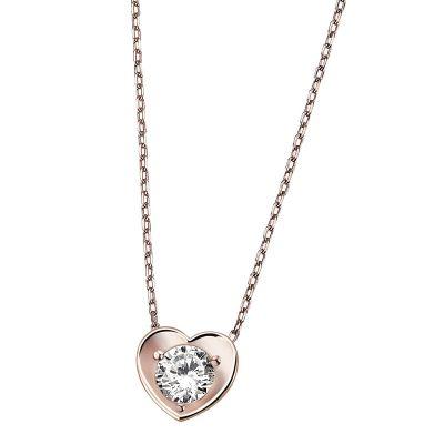 Collier Herz Halskette 925 Sterlingsilber rotvergoldet 1 weißer Zirkonia