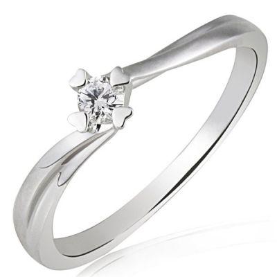 Damenring 585 Weißgold Herz Stotzen Verlobungsring 1 Brillant 0,10 ct.