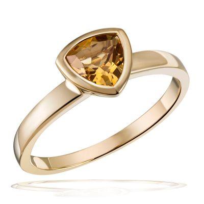 Damenring 375 Gelbgold 1 Citrin Edelstein 0,69 ct. Trillionschliff