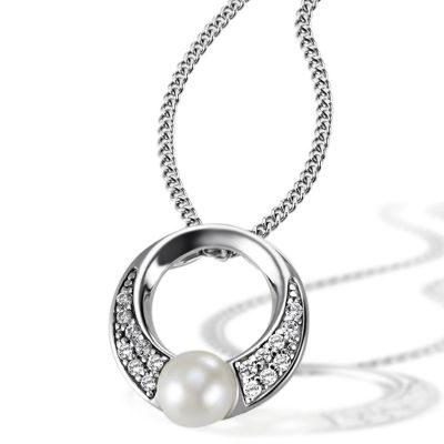 Collier Halskette 925 Silber Süßwasserzuchtperle 5,5 mm, 16 Zirkonia weiß