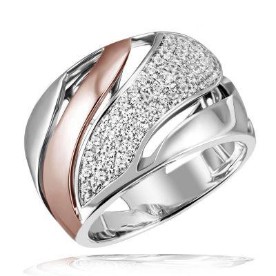 Damen Ring 925 Sterlingsilber teils rot vergoldet 60 weiße Zirkonia