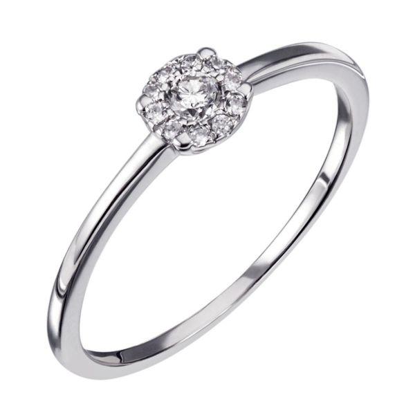 Damenring 375 Weißgold 11 Diamanten zus. 0,08 ct.