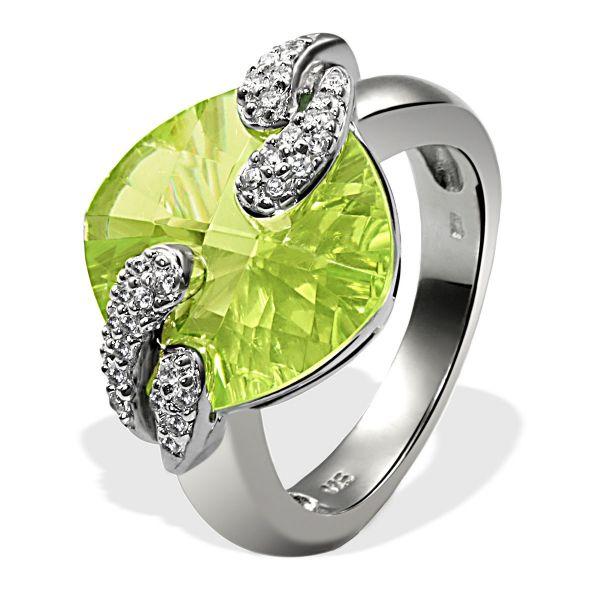 Damenring Silber 925 1 hellgrüner und 26 klare Zirkonia rund