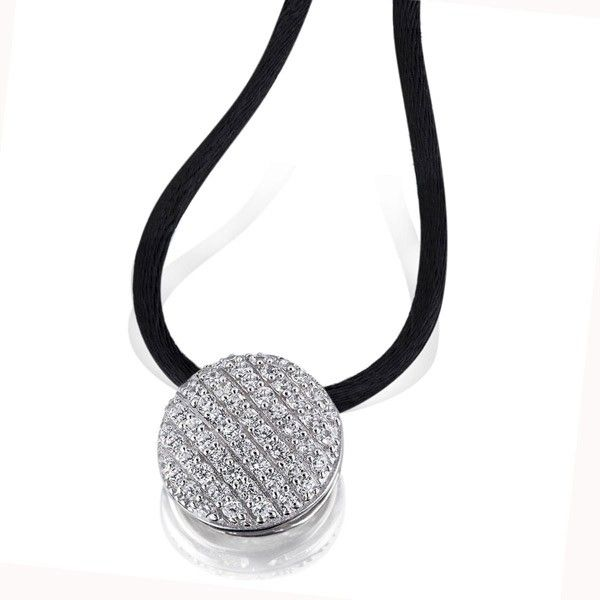 Collier Halskette Pavee 925 Sterlingsilber 66 Zirkonia weiß