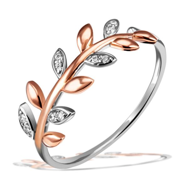 Damenring Bay Leaves 925 Silber 10 Zirkonia teilweise rot vergoldet