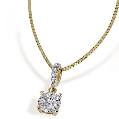 Collier Halskette Glamour 585 Gelbgold 11 Diamanten zus. 0,10 ct.