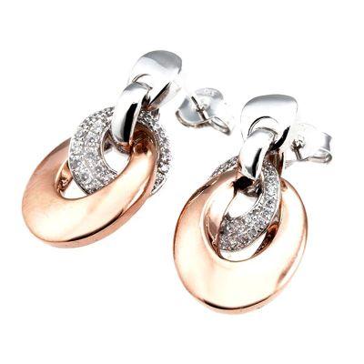 Paar Ohrringe 585 Weißgold Bicolor Optik 58 Brillanten zus. 0,46 ct. SI1