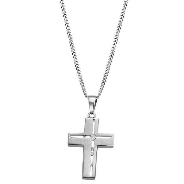 Collier Halskette Kreuz 925 Silber matt / hochglanzpoliert 4 Zirkonia klar