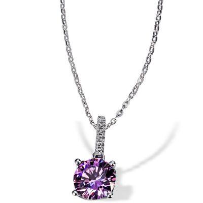 Collier Purple Fancy 925 Sterlingsilber gesetzt mit 7 weiße Zirkonia 1 lila Swarovski Zirconia