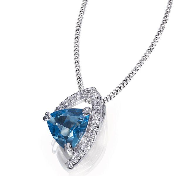 Collier Halskette Blue Filigree 925 Silber 1 Blautopas, 19 Zirkonia