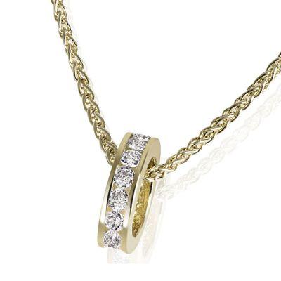 Collier Halskette Taufring 375 Gelbgold Zopfkette 14 weiße Zirkonia