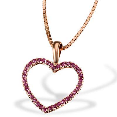 Collier Halskette Red Heart 375 Rotgold 30 Rubin Edelsteine zus. 0,18 ct.