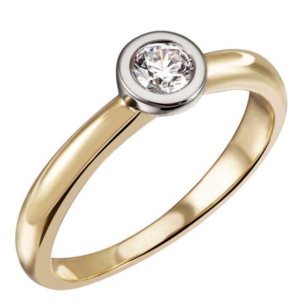 Stella Ring 585/- Gelbgold Bicolor 0,25/ 0,30/ 0,40 ct. VS/G