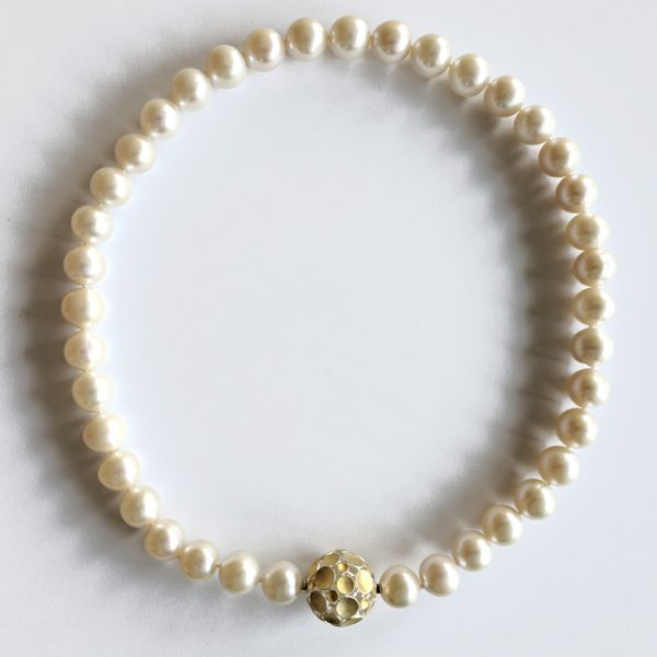 Damen Kette Süsswasser Perlen weiss 10,5-12 mm, ca. 45 cm Länge
