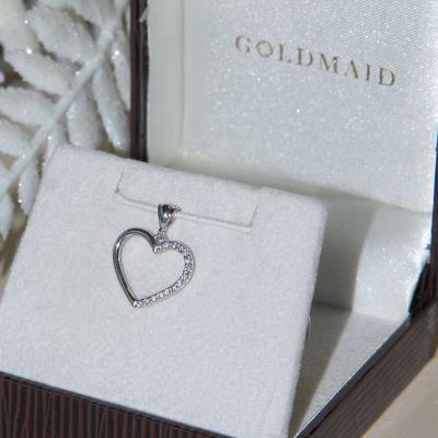 Anhänger Herz 585 Weißgold 15 Diamanten zus. 0.11 ct. SI1/H