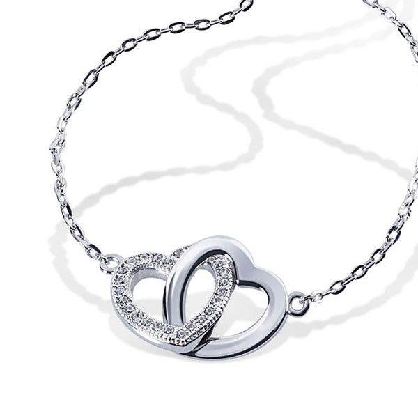 Armband Herzen 925 Sterlingsilber 26 weiße Zirkonia