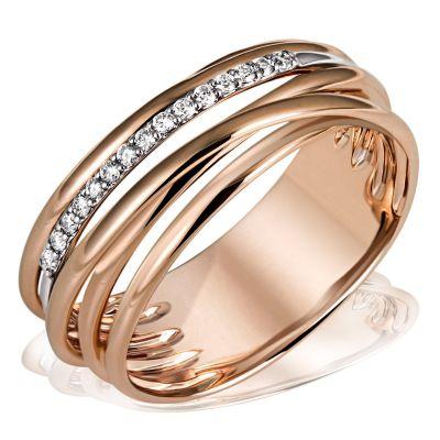 Damenring Gold-Farbspiel 585 Rotgold 15 Diamant 0,11 ct. SI1/H