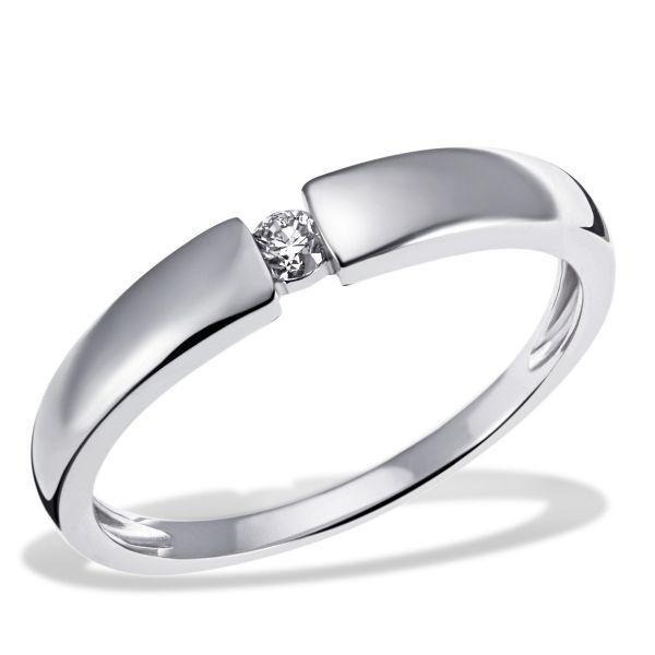 Damenring Verlobung Solitär 375 Weißgold 1 Diamant 0,10 ct.