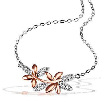 Collier Halskette Bay Leaves 925 Silber 10 Zirkonia teils rotvergoldet