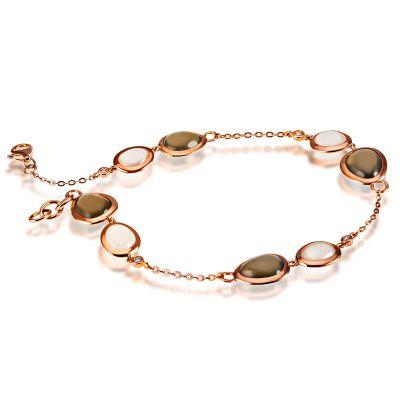 Armband 585 Rotgold 8 Mondsteine zus. 12,4 ct., 4 Brillanten zus. 0,06 ct. SI1/H