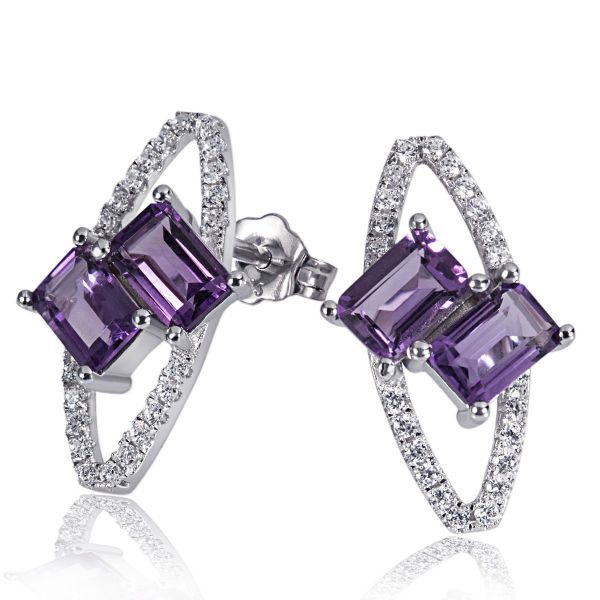 Paar Ohrstecker Purple Twins 925 Sterlingsilber 4 Amethyst lila 44 weiße Zirkonia