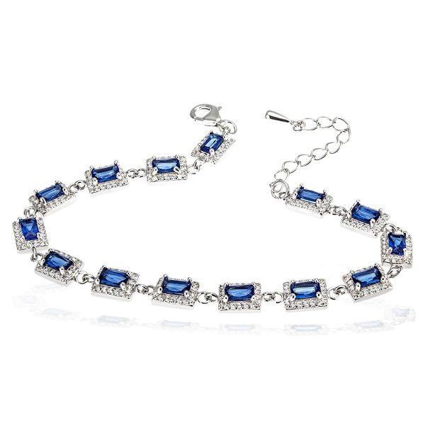 Damenarmband 925 Silber mit blauen Baguette Zirkonia
