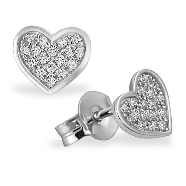 Paar Ohrstecker Pavee Herzen 585 Weißgold 34 Diamanten zus. 0,14 ct. SI1/H