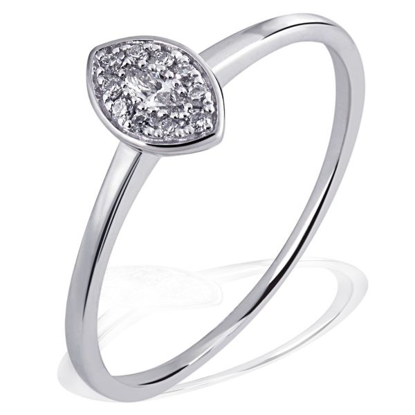 Damenring Glamour Eye 585 Weißgold 10 Brillanten 0,05 ct. SI/H 1 Diamant 0,06 ct. SI/H