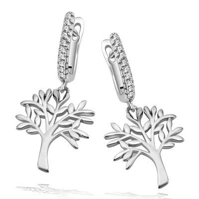 Paar Ohrhänger 925 Sterlingsilber Lebensbaum poliert 20 weiße Zirkonia