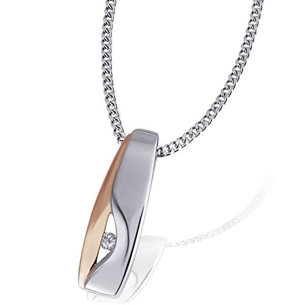 Collier Halskette 925 Sterlingsilber teils rot rhodiniert 1 Zirkonia weiß
