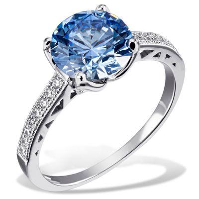 Damenring Arctic Blue 925 Sterlingsilber 20 weiße 1 blauer Swarovski Zirconia
